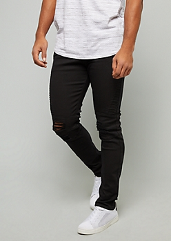 Black Ripped Knee Skinny Moto Jeans