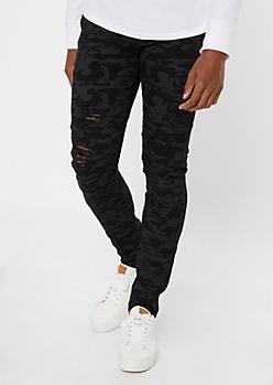 Black Camo Print Ripped Moto Skinny Jeans