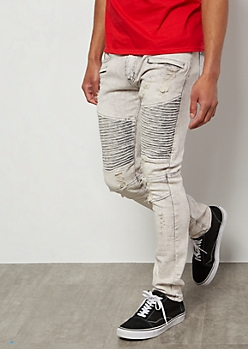 Flex Gray Acid Wash Moto Ripped Skinny Jeans