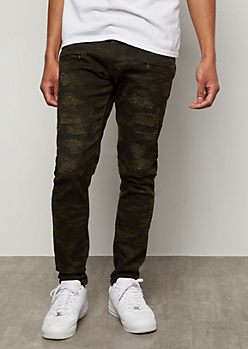 Flex Camo Print Repaired Rips Skinny Jeans