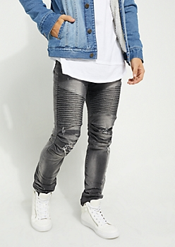 Black Distressed Moto Skinny Jeans