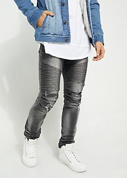 Black Distressed Moto Skinny Jeans