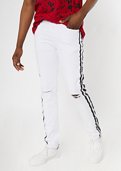 Supreme Flex White Side Striped Skinny Jeans