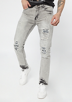 Supreme Flex Gray Acid Wash Bandana Skinny Jeans