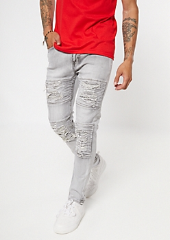 Gray Ripped And Repaired Moto Skinny Jeans