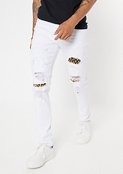White Leopard Print Ripped And Repaired Skinny Jeans