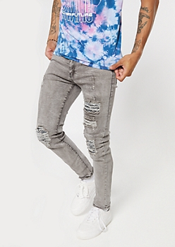 Gray Bandana Print Ripped And Repaired Skinny Jeans