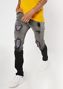 Black Ombre Ripped And Repaired Skinny Jeans
