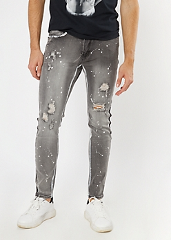 Supreme Flex Gray Paint Splattered Side Striped Skinny Jeans