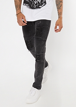 Supreme Flex Black Bleach Moto Skinny Jeans
