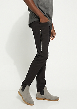 Black Zip Frayed Skinny Pants