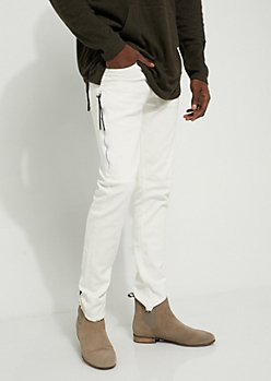 White Zip Frayed Skinny Pants