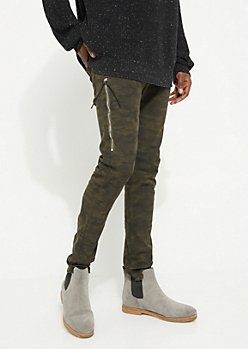 Camo Zip Frayed Skinny Pants