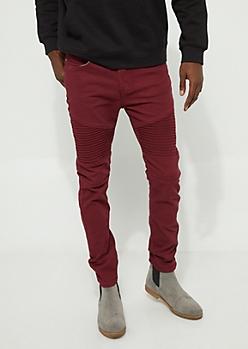 Burgundy Moto Skinny Jeans