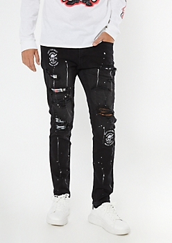 Black Ripped And Repaired Patch Skinny Jeans