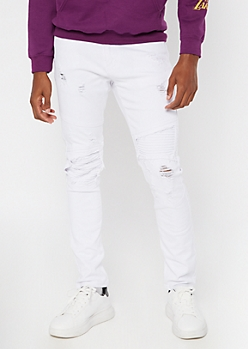 White Ripped And Repaired Moto Skinny Jeans