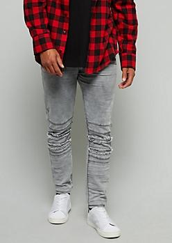 Gray Frayed Knee Skinny Jeans