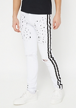 White Paint Splattered Side Striped Skinny Jeans