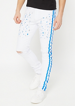 Blue Paint Splattered Side Striped Skinny Jeans