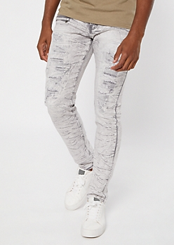Supreme Flex Gray Wash Ripped Skinny Jeans