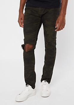 Supreme Flex Camo Print Ripped Skinny Jeans