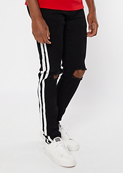 Supreme Flex Black Side Striped Skinny Jeans