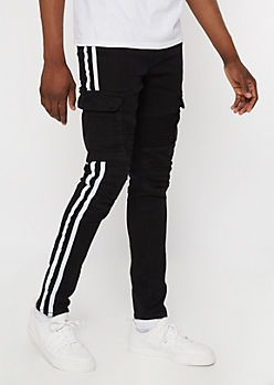 Supreme Flex Black Side Striped Moto Skinny Jeans
