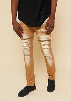 Flex Camel Frayed Zipper Skinny Jeans