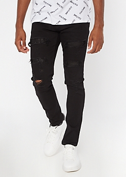 Black Gemstone Rip And Repair Skinny Jeans