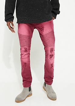 Burgundy Destroyed Moto Thigh Skinny Pants