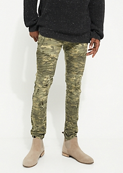 Camo Destroyed Moto Thigh Skinny Pants