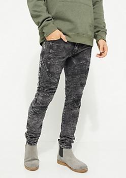 Black Washed Moto Skinny Pants