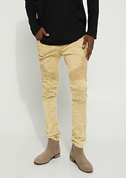 Khaki Washed Moto Skinny Pants
