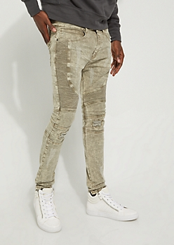 Olive Washed Moto Skinny Pants