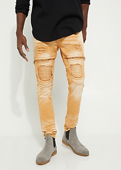Sand Vintage Layered Moto Skinny Pants