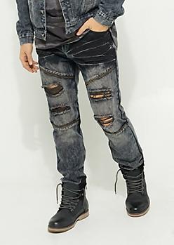 Flex Charcoal Gray Dyed Zipper Skinny Jeans