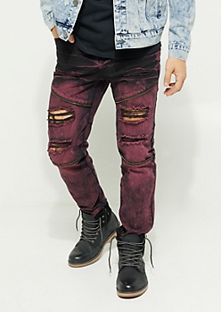 Flex Dark Purple Dyed Zipper Skinny Jeans