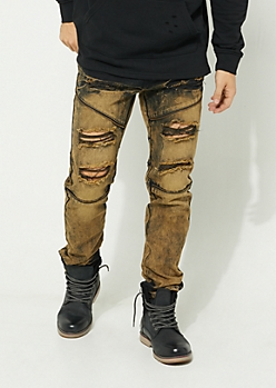Flex Orange Dyed Zipper Skinny Jeans