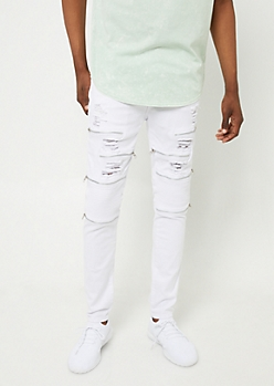 Flex White Zippered Skinny Moto Jeans