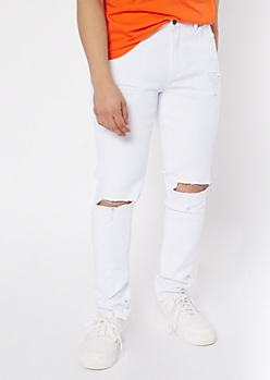 Supreme Flex White Blown Knee Skinny Jeans