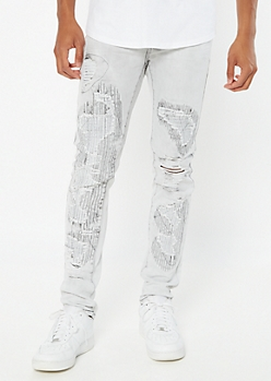 Supreme Flex Gray Stitched Ripped Repaired Skinny Jeans