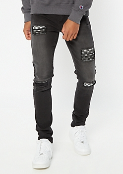 Supreme Flex Black Checkered Print Ripped Repaired Skinny Jeans