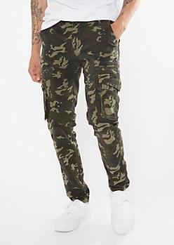 Camo Print Cargo Skinny Pants