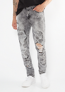 Supreme Flex Gray Rip Repair Skinny Jeans