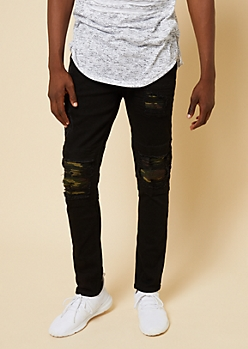 Flex Black Camo Print Distressed Moto Skinny Jeans