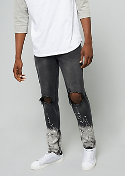 Flex Black Ripped Knee Ombre Paint Splatter Skinny Jeans