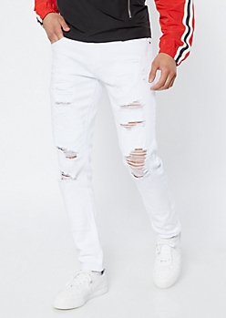 Supreme Flex White Repaired Skinny Jeans