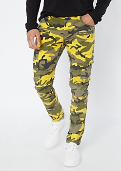Supreme Flex Yellow Camo Print Super Skinny Jeans