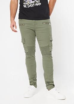 Supreme Flex Olive Moto Cargo Skinny Jeans