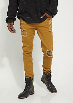Camel Flex Blown Out Knee Skinny Pants